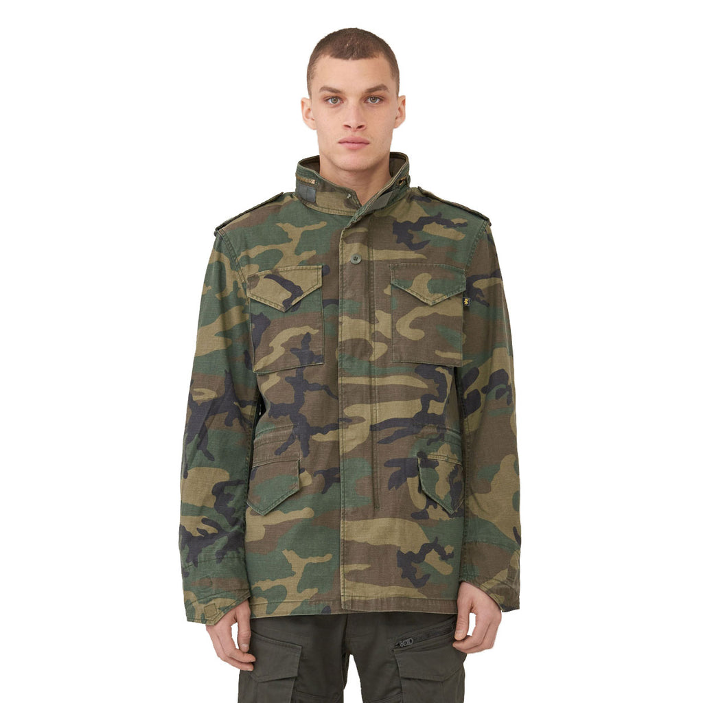 Alpha Industries Men's Woodland Camo M-65 Defender Field Coat