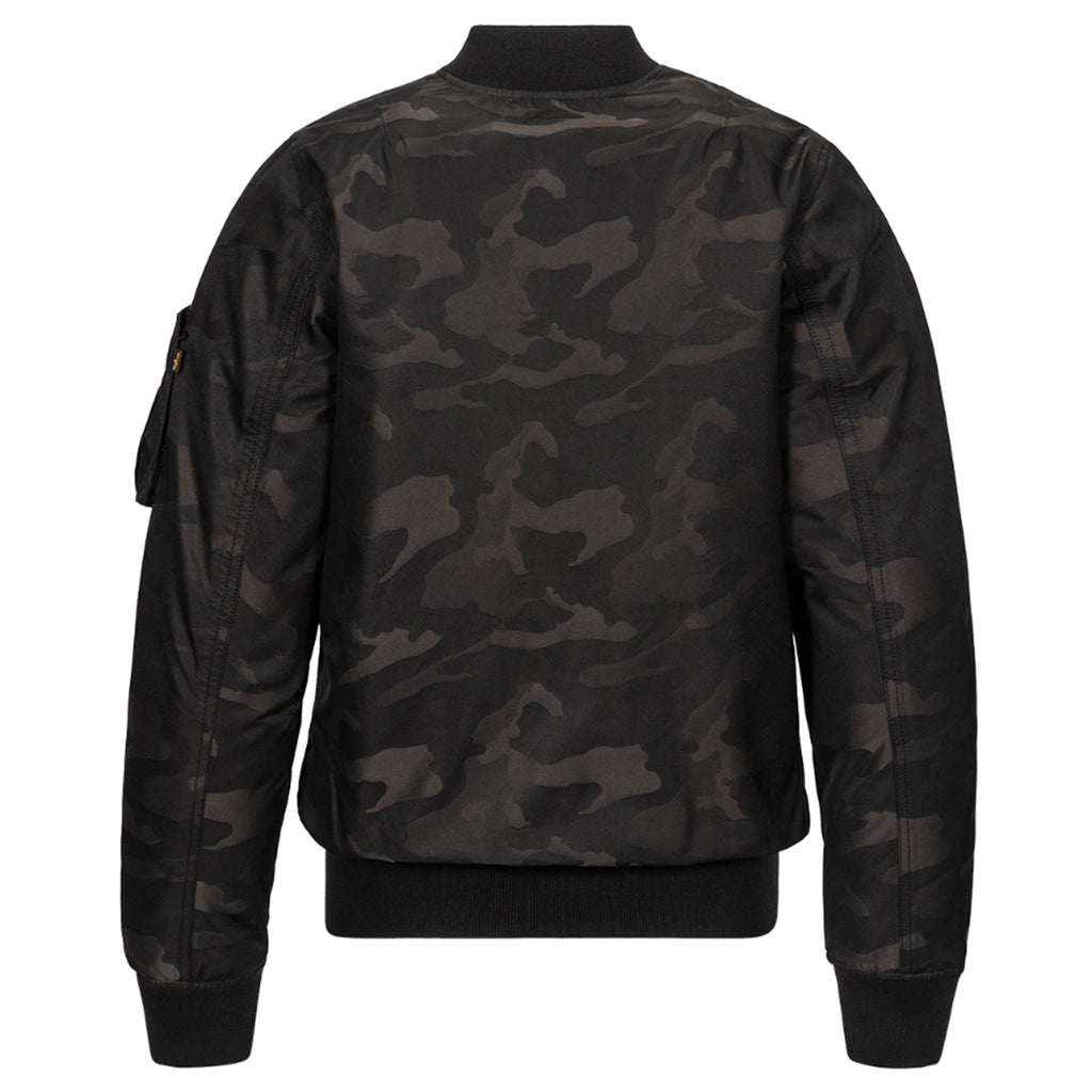 Alpha Industries Men's Black Camo MA-1 Reversable Down Flight Jacquard Jacket