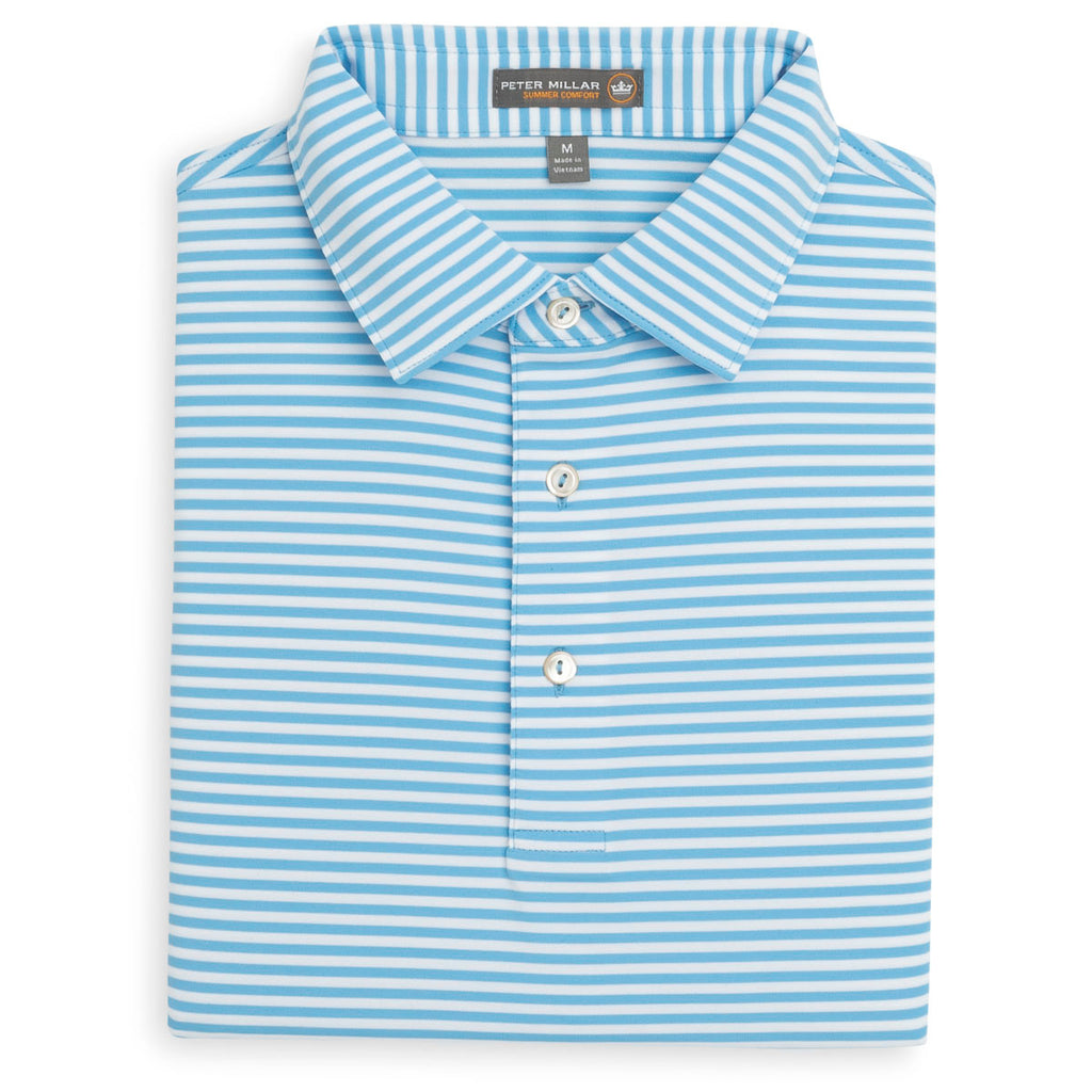 cf8bb8c339b Peter Millar Men's Grotto Blue/White Competition Stripe Stretch Jersey