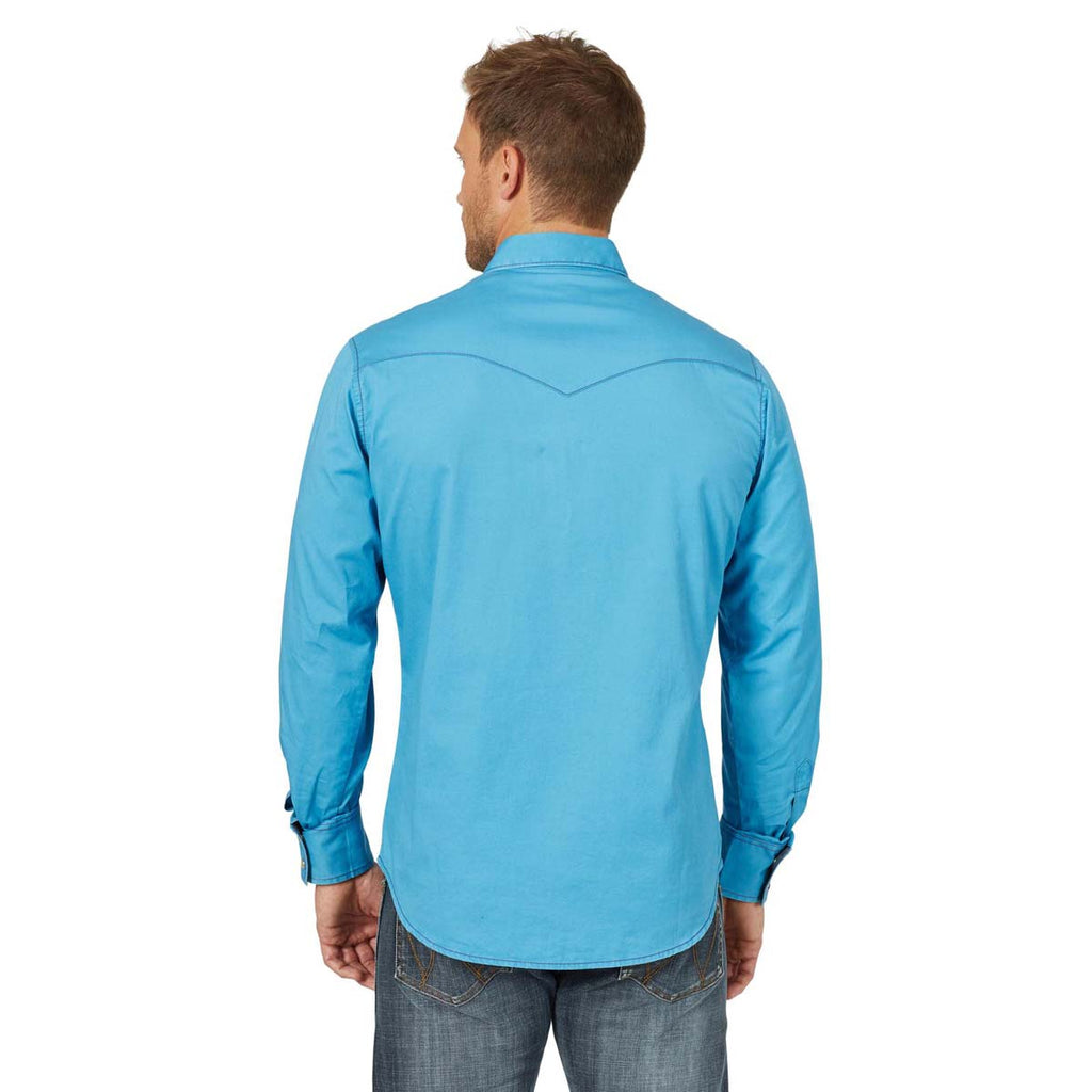 Wrangler Men's Blue Retro Premium Long Sleeve Shirt