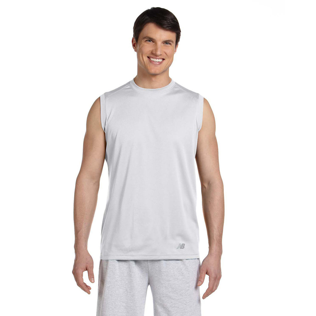 New balance men 39 s white ndurance athletic workout t shirt for Design your own workout shirt