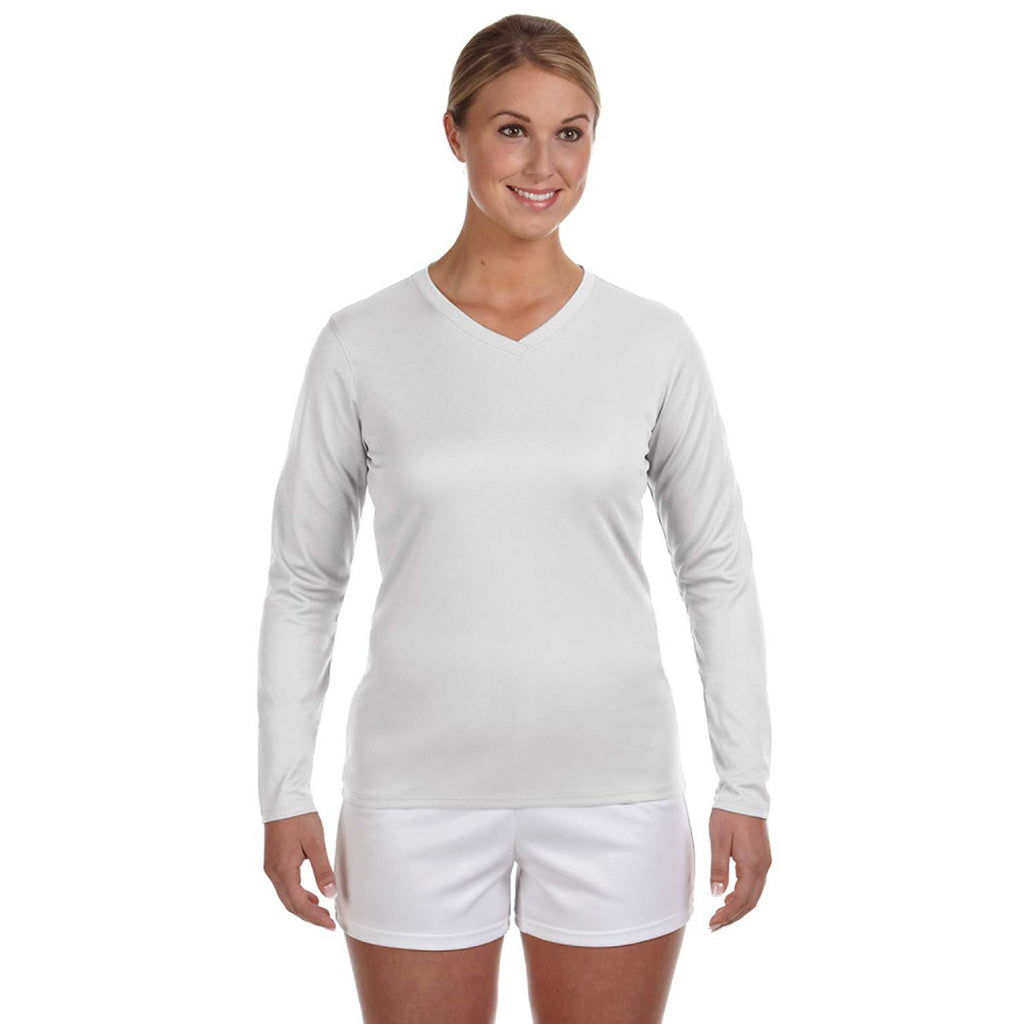 750d5b5001adb New Balance Women's White Ndurance Athletic Long-Sleeve V-Neck ...