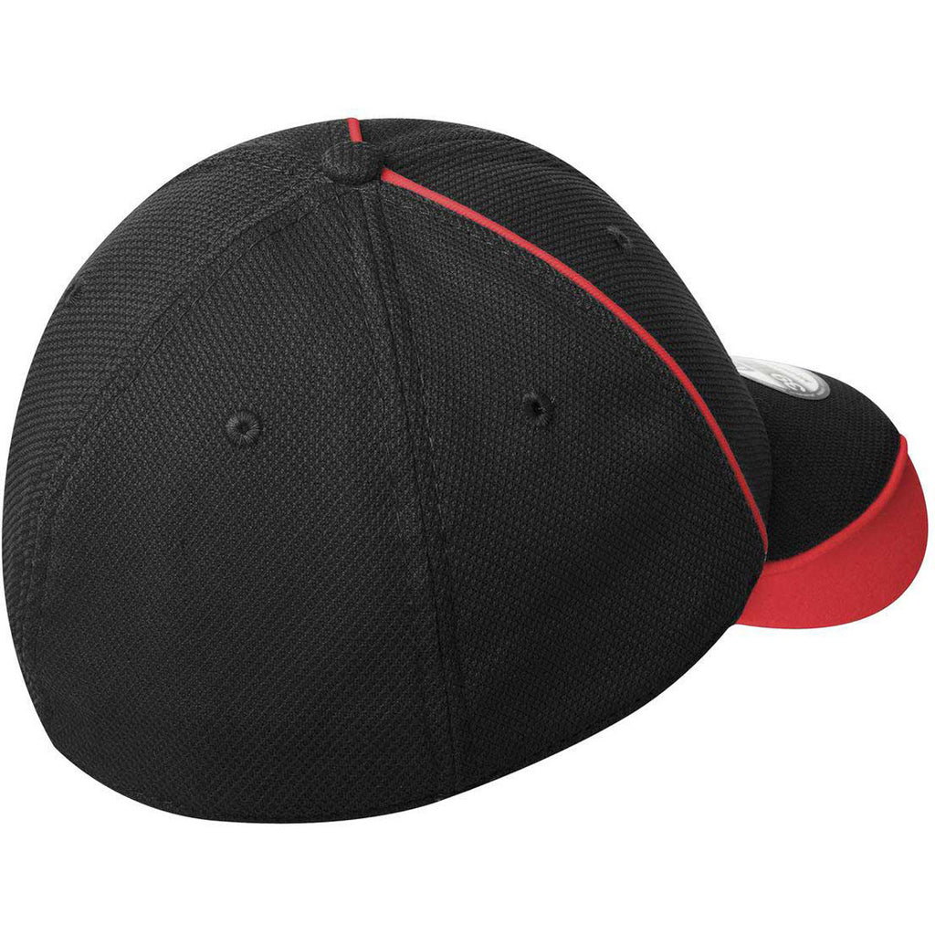 New Era Black/Scarlet Red Contrast Piped BP Performance Cap