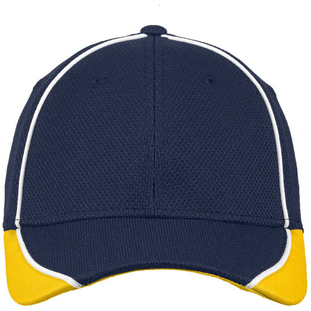 New Era Deep Navy/Gold Contrast Piped BP Performance Cap