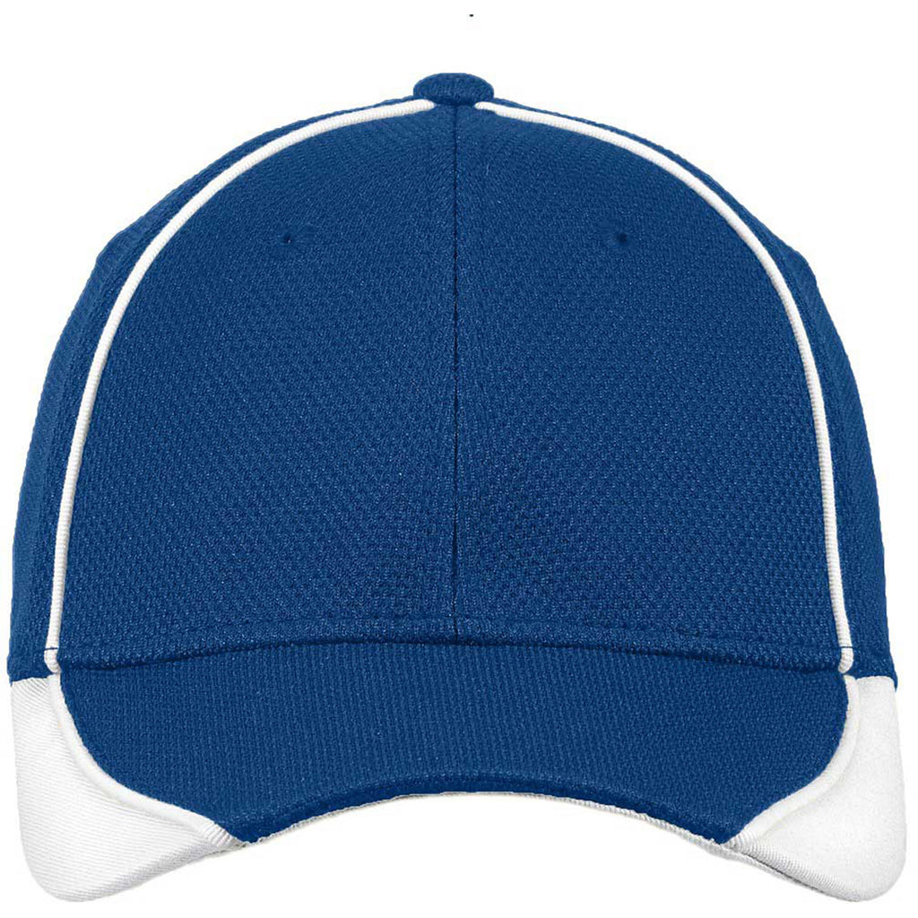 New Era Royal/White Contrast Piped BP Performance Cap