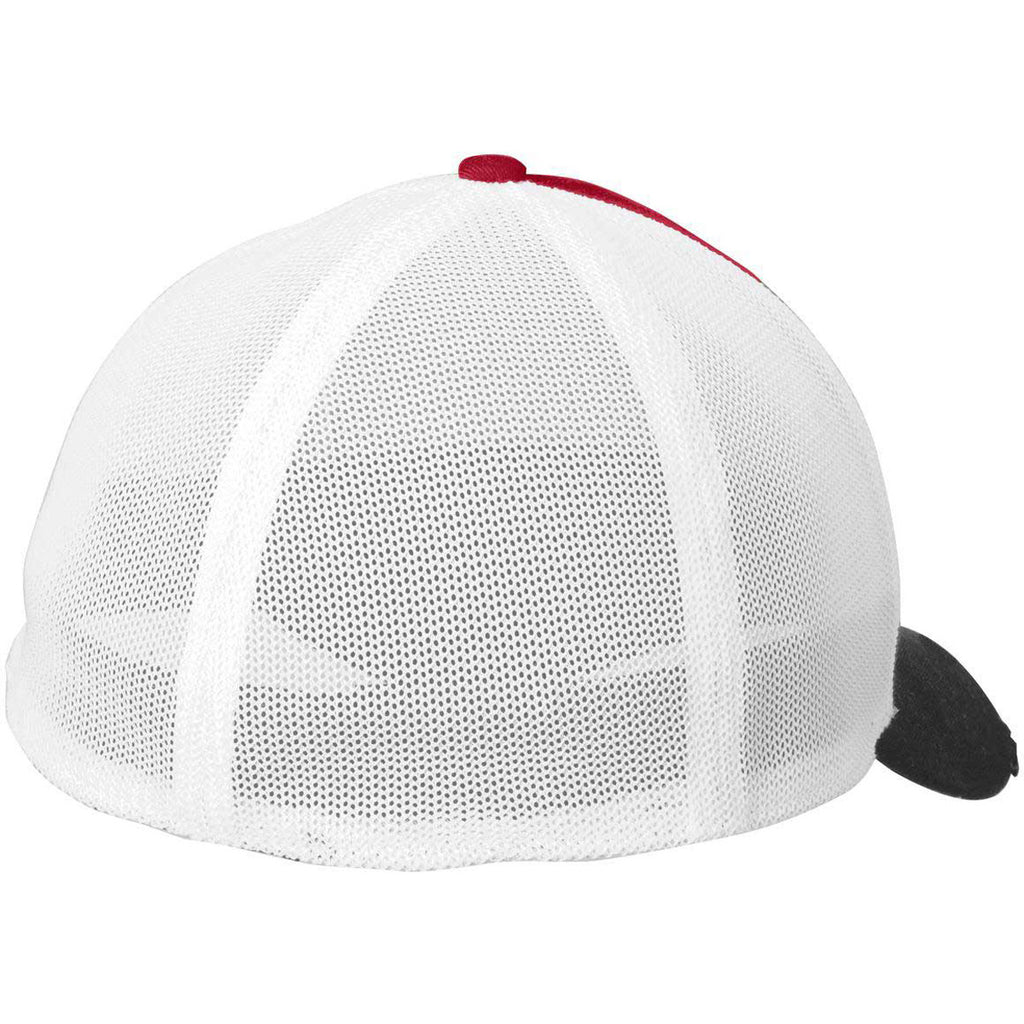 New Era Black/Scarlet/White Vintage Mesh Cap