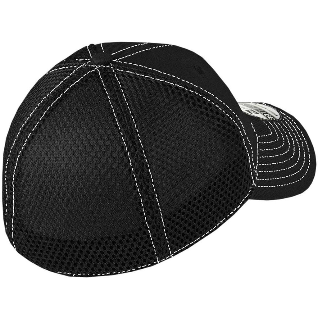 New Era 39THIRTY Black White Stretch Mesh Contrast Stitch Cap ec771c407909