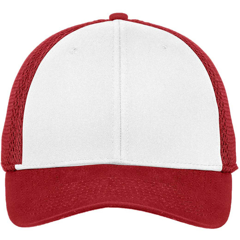 719e7d58d0bdc New Era 9FORTY White Scarlet Red Snapback Contrast Front Mesh Cap