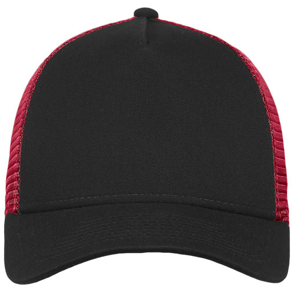 New Era Black Scarlet Snapback Mesh Back Trucker Cap 47d7d533899