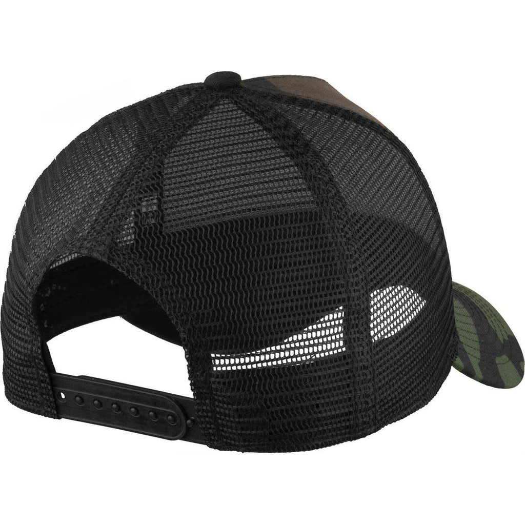 New Era Camo/Black Snapback Mesh Back Trucker Cap