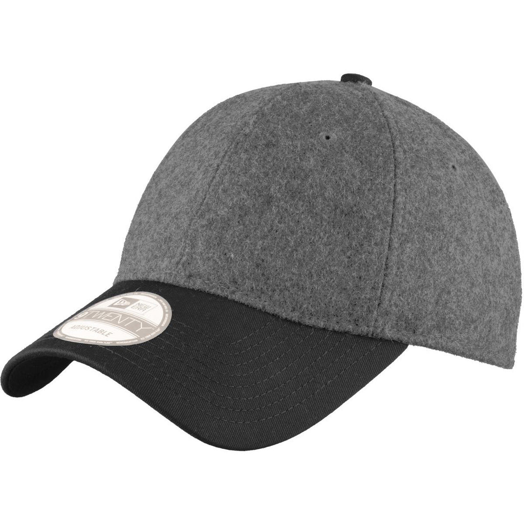 New Era 9TWENTY Graphite Heather Black Melton Wool Heather Cap. ADD YOUR  LOGO 6abcb982d