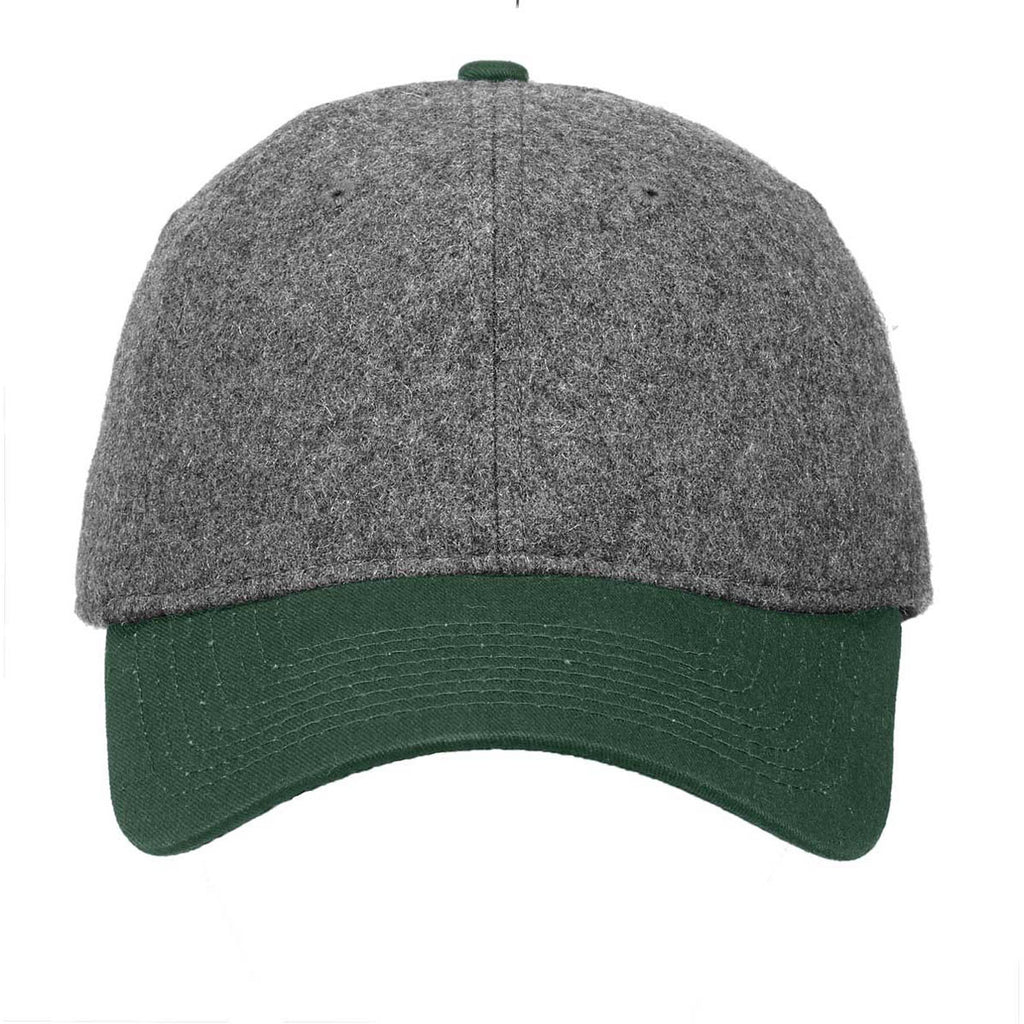 New Era Graphite Heather/Dark Green Melton Wool Heather Cap