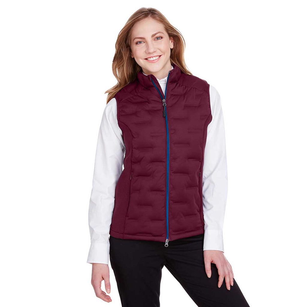 North End Women's Burgundy/Burgundy Heather/Olympic Blue Pioneer Hybrid Vest