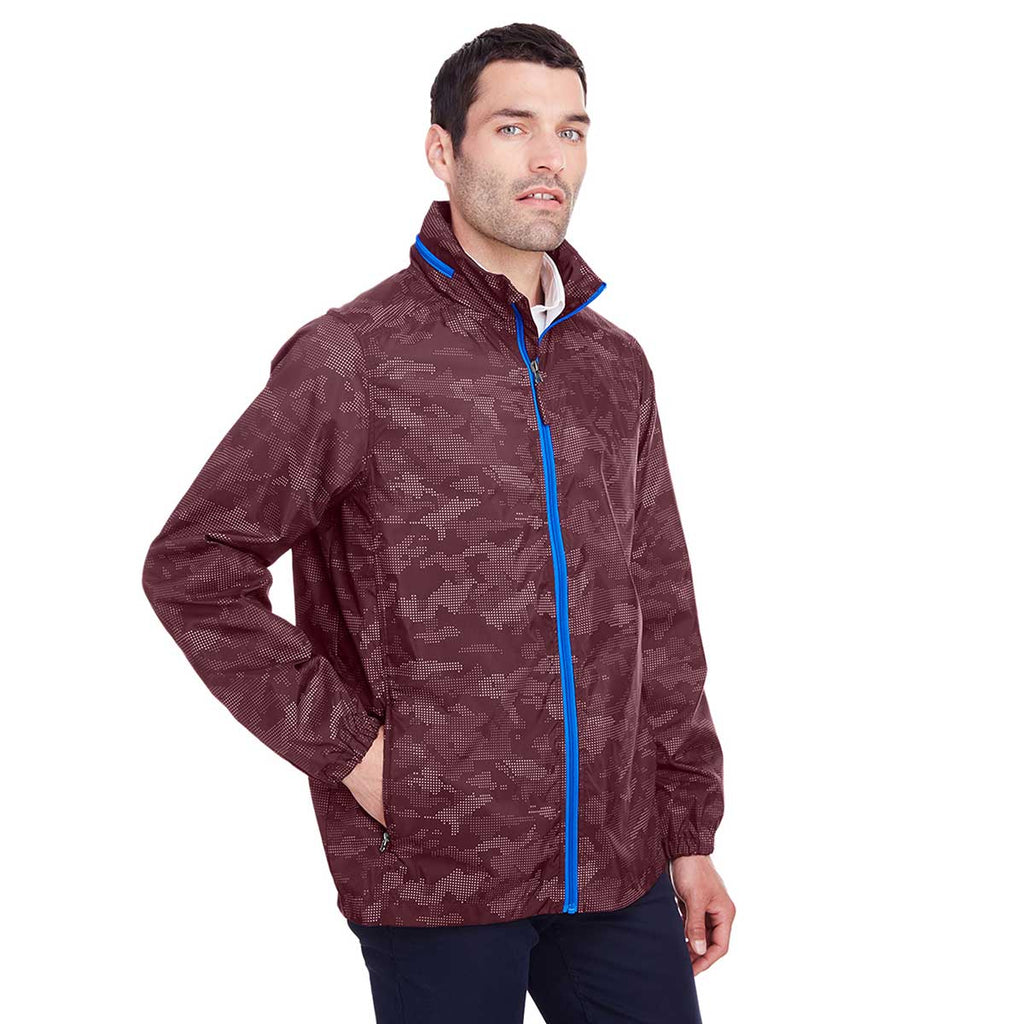 North End Men's Burgundy/Olympic Blue Rotate Reflective Jacket