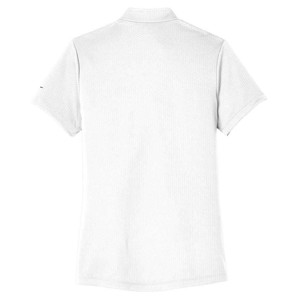 Nike Women's White Dri-FIT Hex Textured V-Neck Top