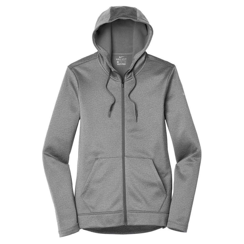 Nike Women S Dark Grey Heather Therma Fit Full Zip Fleece Hoodie Dry fleece get fit hooded tp hem. merchology
