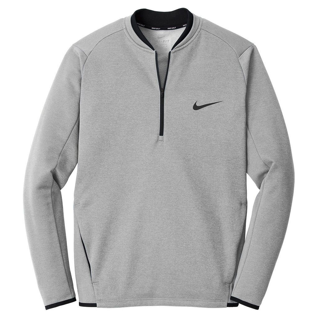 4699182e51bf Nike Men s Black Wolf Grey Therma-FIT Textured Fleece 1 2-Zip. ADD YOUR LOGO