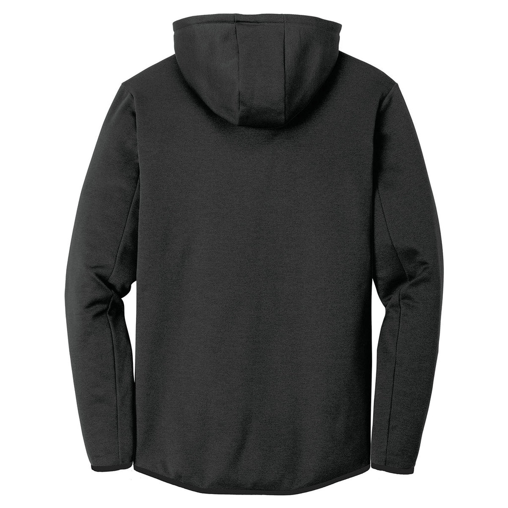 Nike Men's Black Therma-FIT Textured Fleece Full-Zip Hoodie