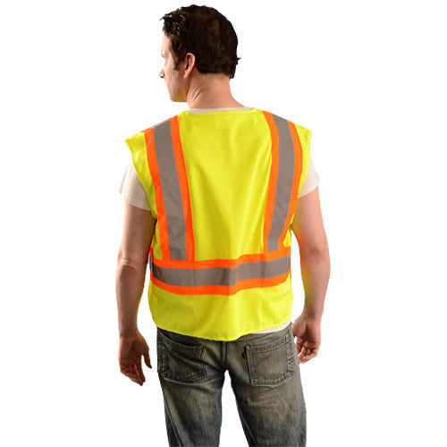 OccuNomix Men's Yellow High Visibility Value Mesh Two-Tone Vest