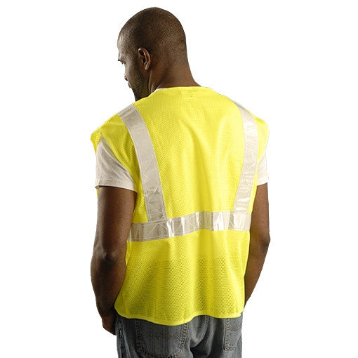 OccuNomix Men's Yellow High Visibility Premium Mesh Gloss Safety Vest