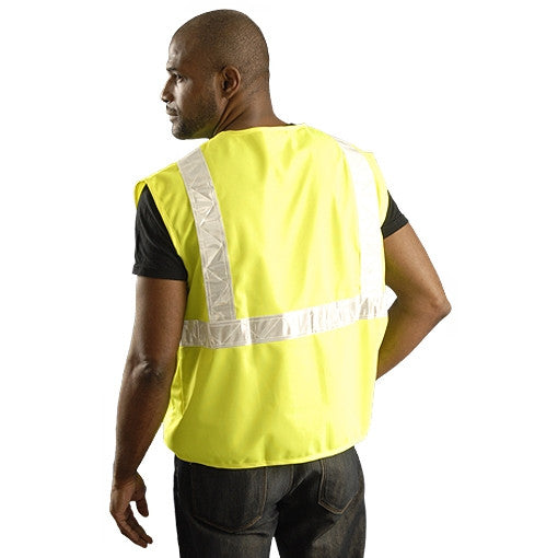 OccuNomix Men's Yellow High Visibility Premium Solid Gloss Safety Vests