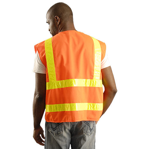 OccuNomix Men's Orange High Visibility Premium Solid Dual Stripe Gloss Safety Vest
