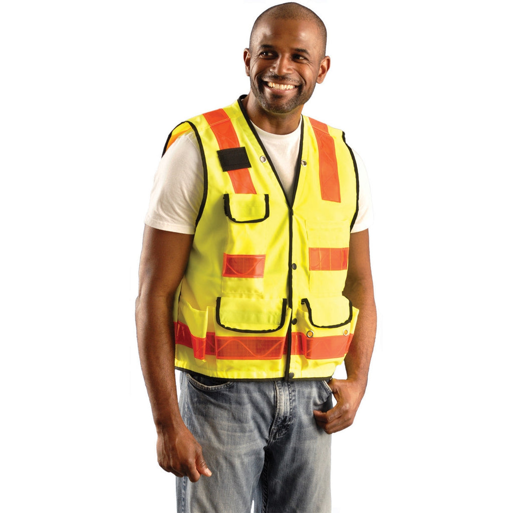 OccuNomix Men's Yellow High Visibility Premium Solid Pro-Style Surveyor Vest