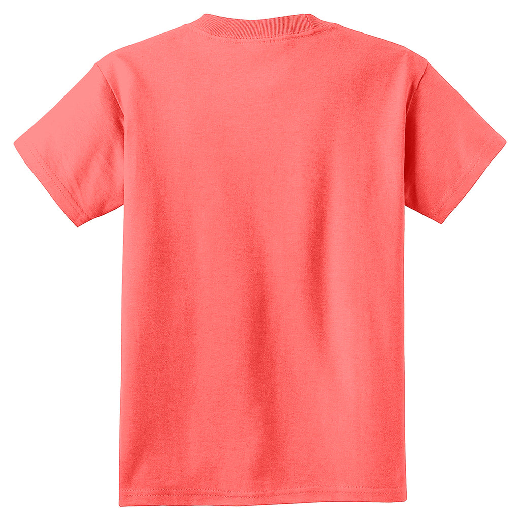 Port & Company Youth Neon Coral Pigment-Dyed Tee