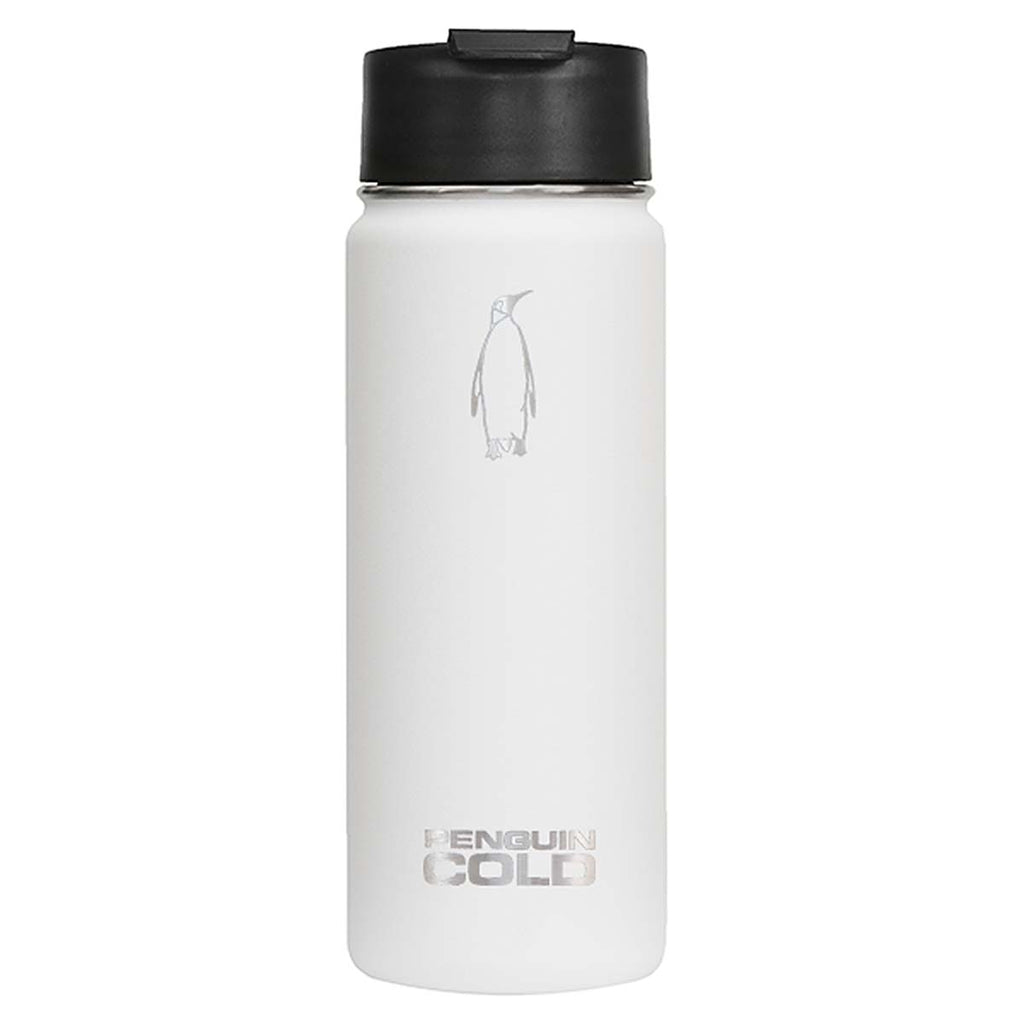 Penguin Cold White 18 oz Bottle with Sipper Lid