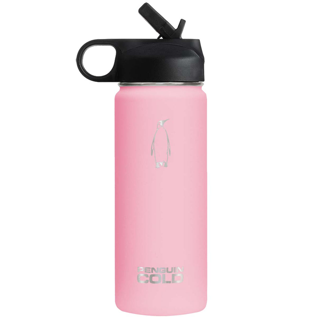 Penguin Cold Pink 18 oz Bottle with Straw Lid