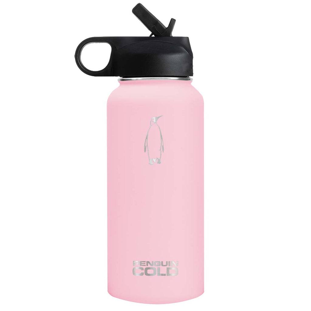 Penguin Cold Pink 32 oz Bottle with Straw Lid