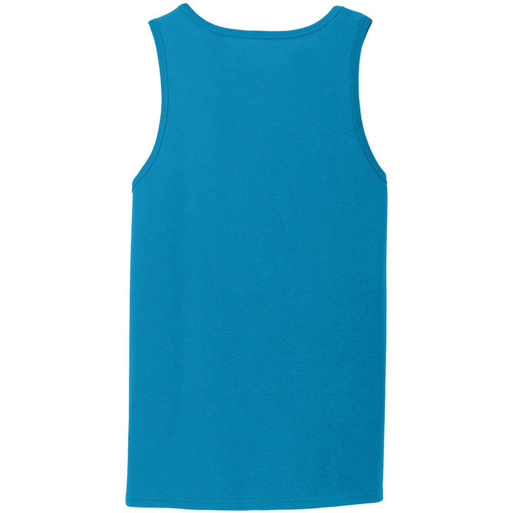 Port & Company Men's Neon Blue Core Cotton Tank Top