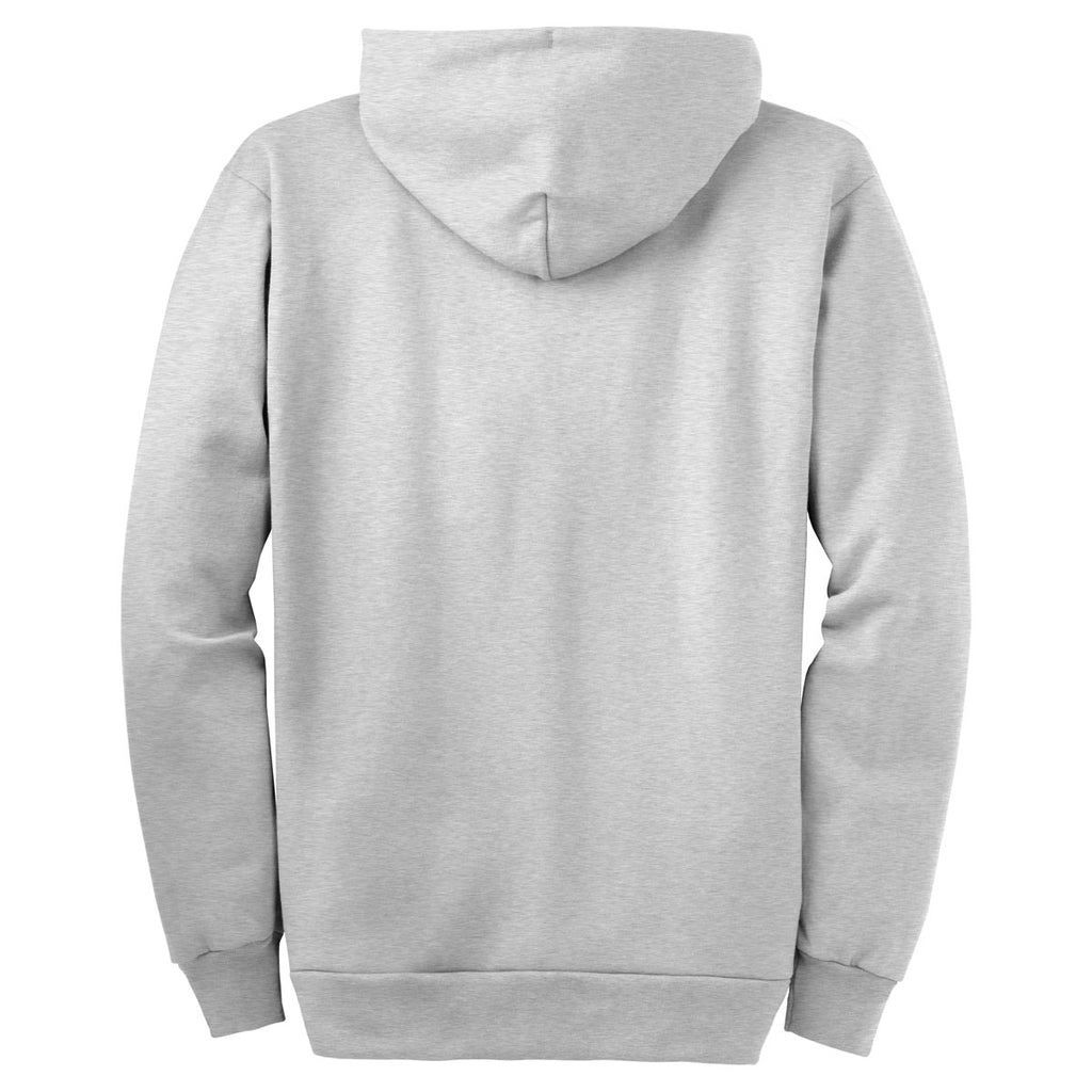 Port & Company Ash Grey Ultimate Full Zip Hooded Sweatshirt