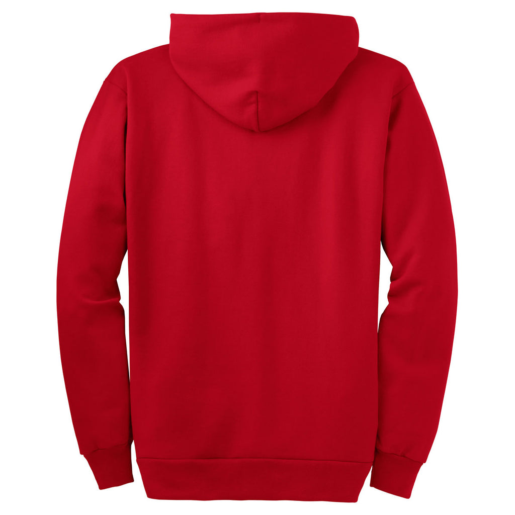 Port & Company Red Ultimate Full Zip Hooded Sweatshirt