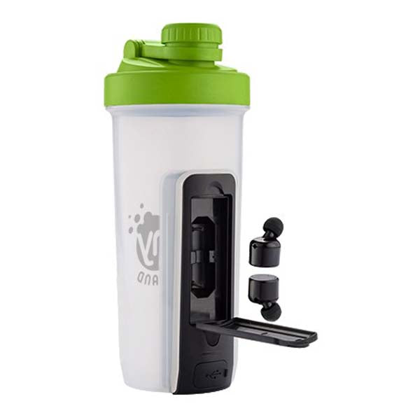 Primeline Lime Green 20 oz. Shaker Fitness Bottle with Bluetooth Earbuds