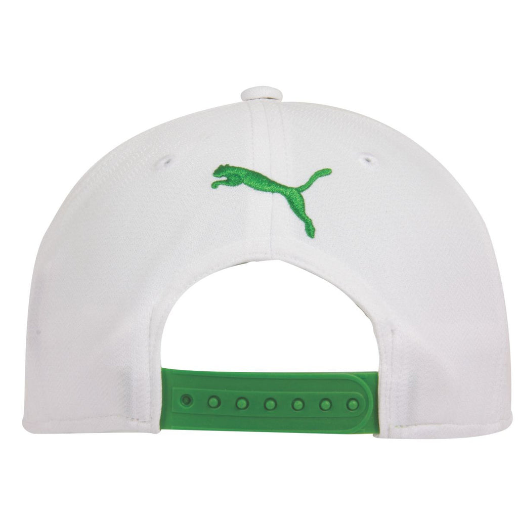 Puma Golf White & Bright Green Script Cool Cell Snapback Cap