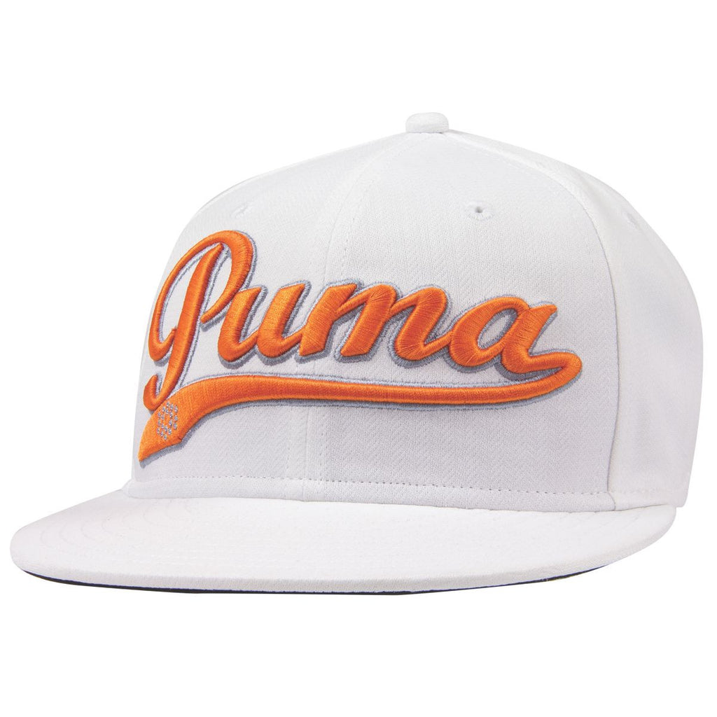 ffcbf77e7dc Puma Golf White   Vibrant Orange Script Cool Cell Snapback Cap