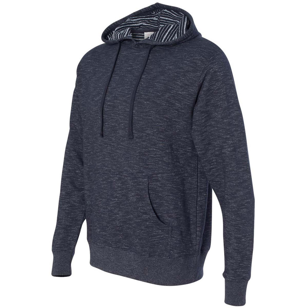 Independent Trading Co. Men's Azul Marino Clasico Baja Stripe French Terry Hooded Pullover Sweatshirt