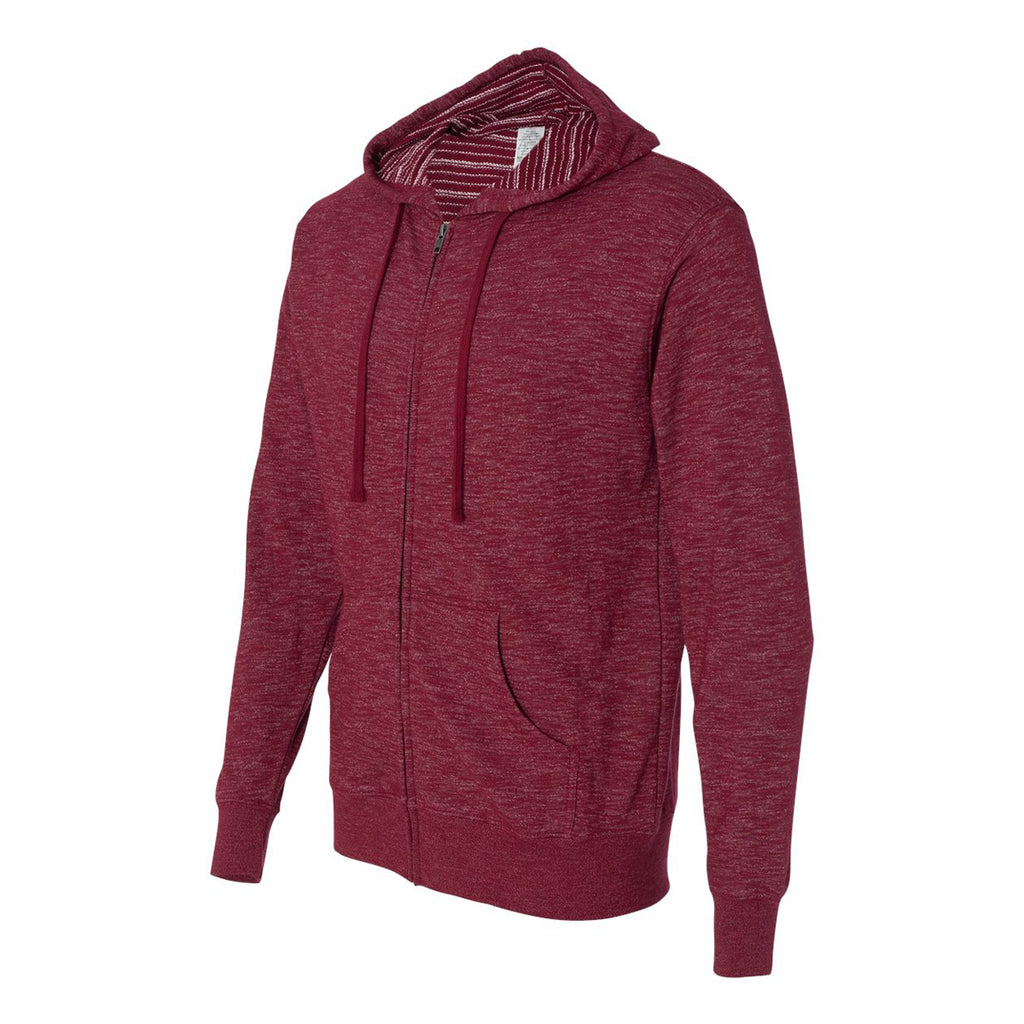 Independent Trading Co. Men's Rojo Cardinal Baja Stripe French Terry Hooded Full-Zip Sweatshirt