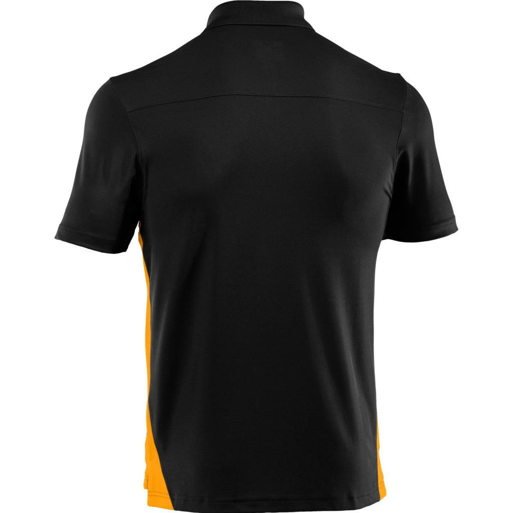 Under Armour Men's Black/Steeltown Gold Colorblock Polo