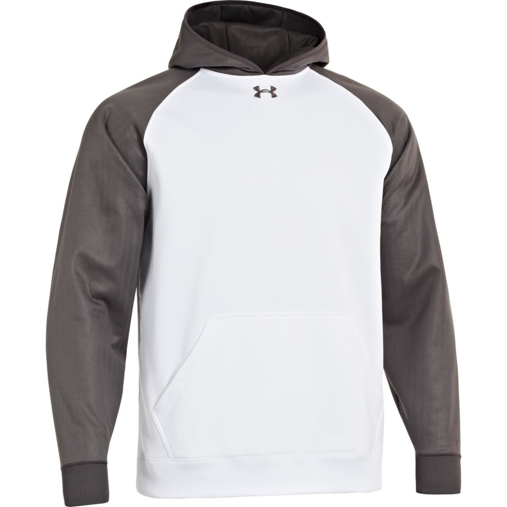 0bf2288f2 Under Armour Men's White/Charcoal Storm AF Colorblock Hoodie. ADD YOUR LOGO