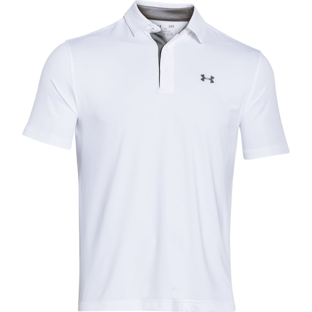 Under armour men 39 s white ua playoff polo for Do under armour shirts run small