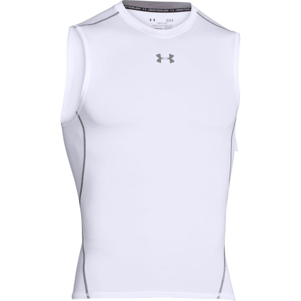 41765f73c5 Under Armour Men's White HeatGear Armour Sleeveless Compression Shirt