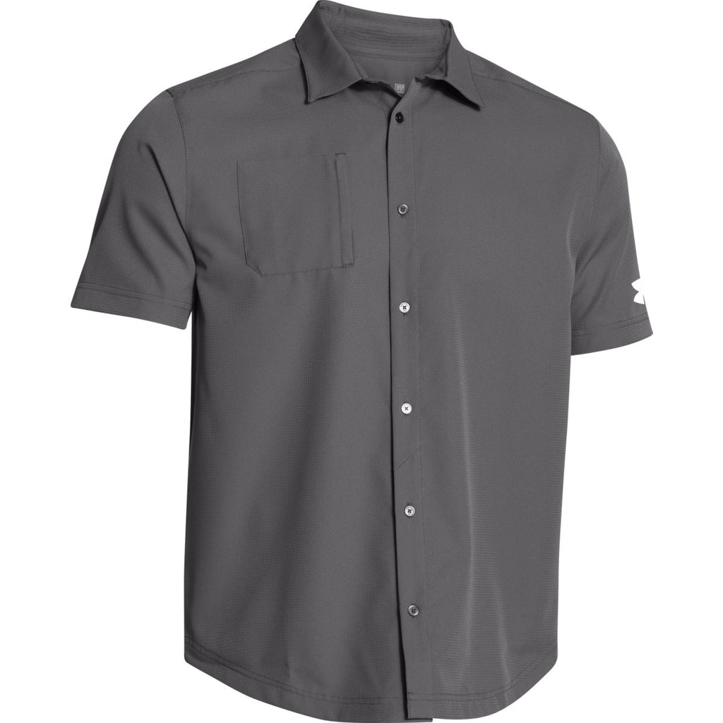 Under armour men 39 s charcoal ultimate s s button down shirt for Under armor business shirts