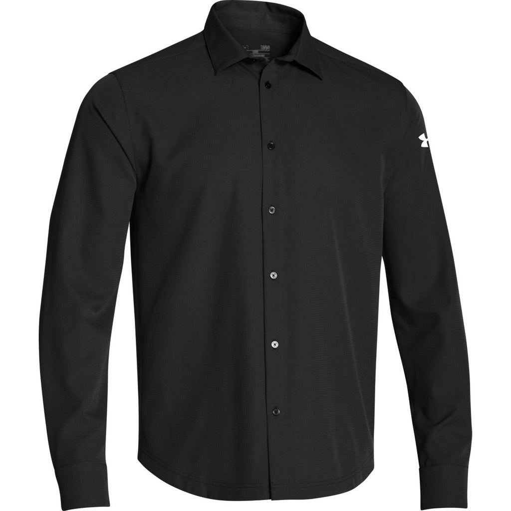 Under armour men 39 s black ultimate l s button down shirt for Under armor business shirts