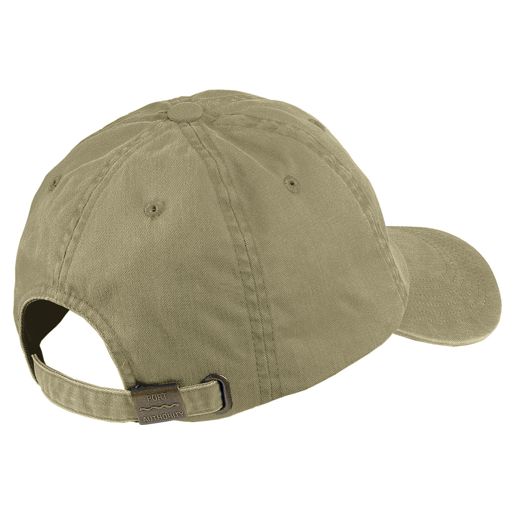 Port Authority Khaki Garment Washed Cap