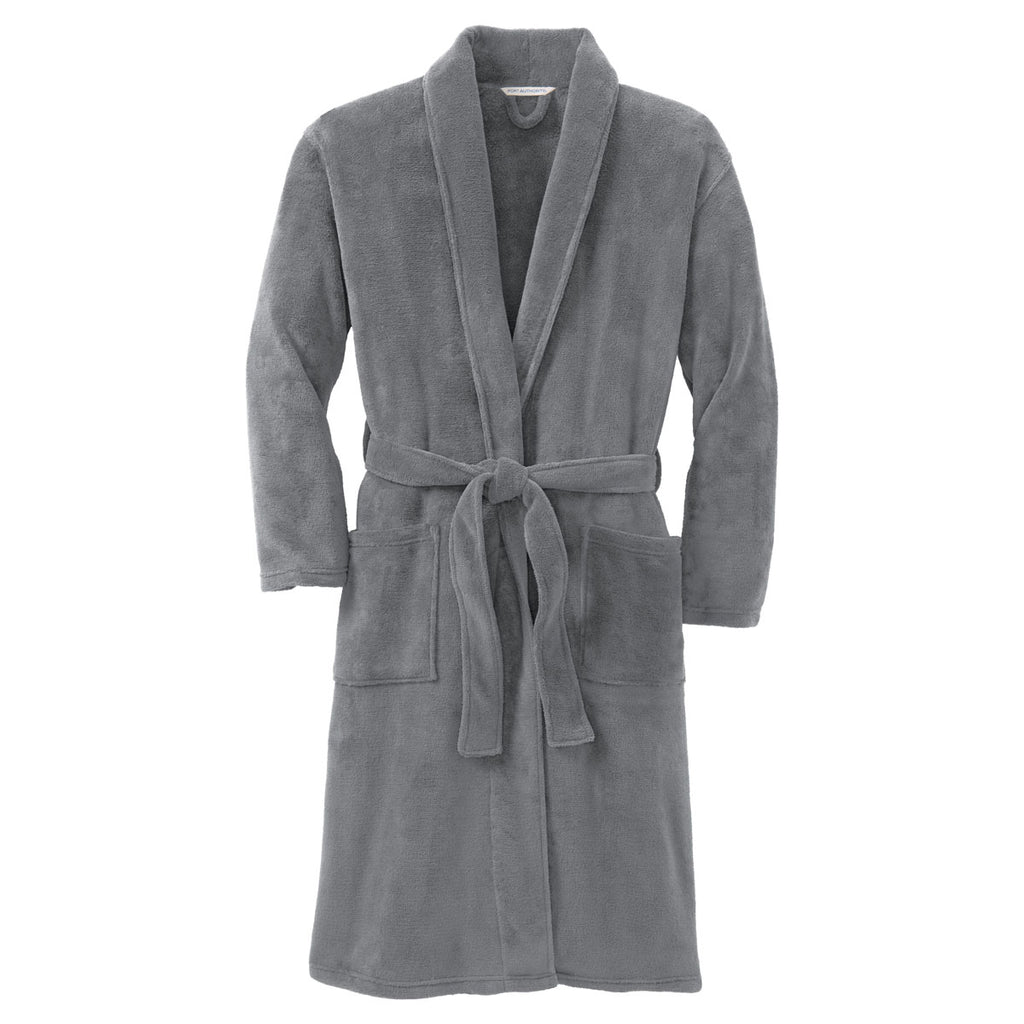 Port Authority Deep Smoke Plush Microfleece Shawl Collar Robe fadf28e4e
