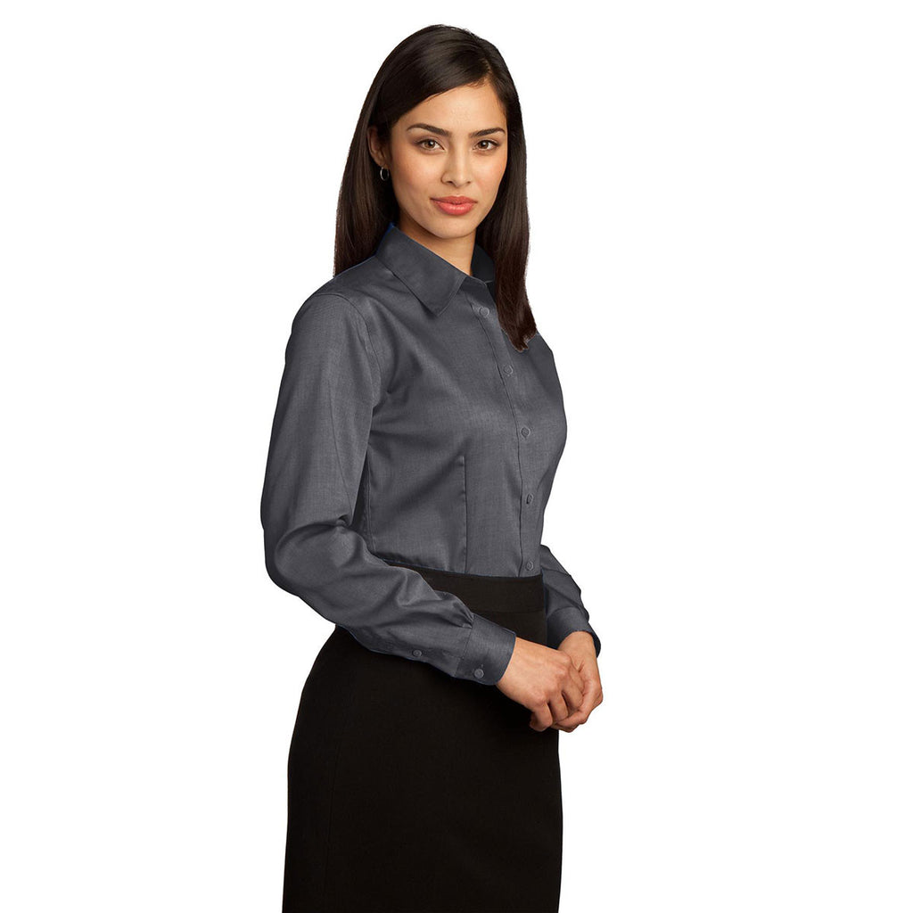 Red House Women's Charcoal Non-Iron Pinpoint Oxford Shirt