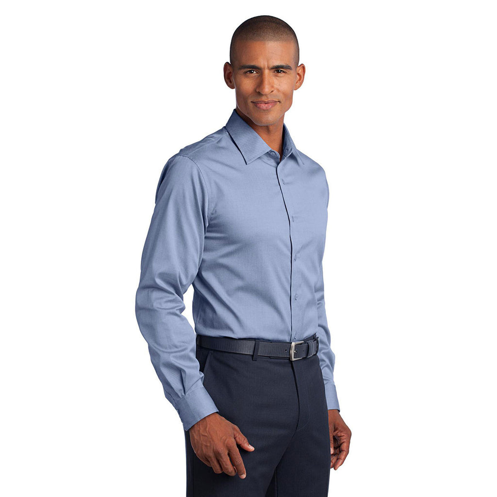 Red House Men's Blue Slim Fit Non-Iron Pinpoint Oxford Shirt