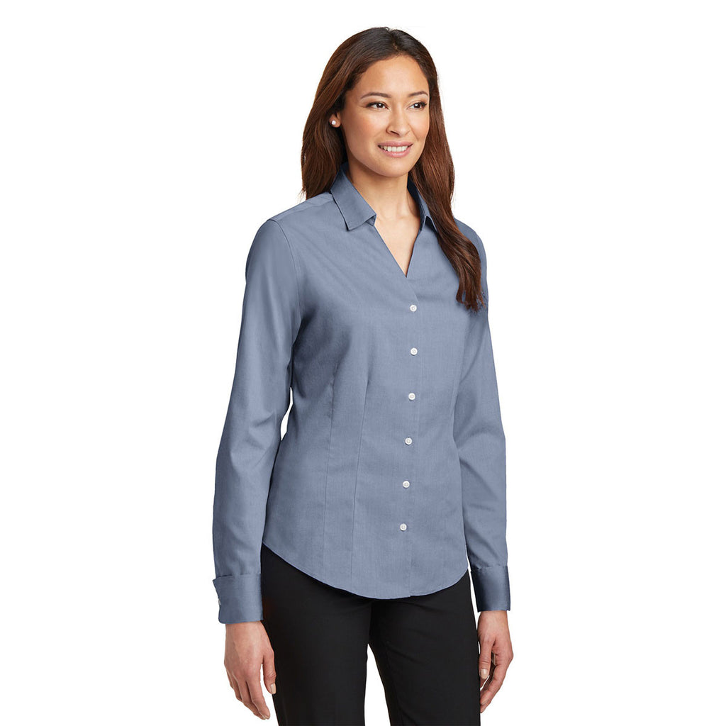 Red House Women's Blue French Cuff Non-Iron Pinpoint Oxford Shirt
